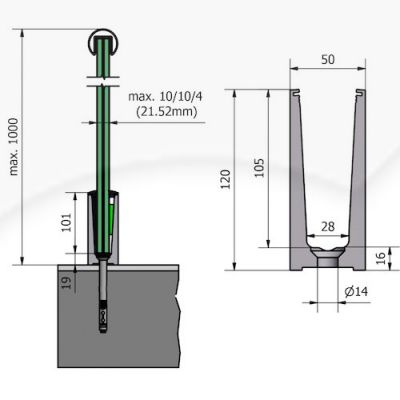 Glass Channel Bottom Mounting Profile